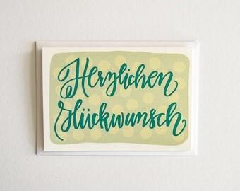 Herzlichen Glückwunsch, Congratulations, German Greeting Card