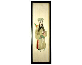 Chinese Male Elder Mixed Media Ancient Grey Costume Silk Fiber Wall Art