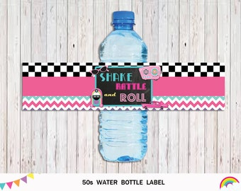50s Water Bottle Labels, Fifties Birthday Party, 50s Birthday Party Decor, Instant Download, Fifties Water Bottle Labels Birthday Party