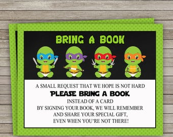 Teenage Mutant Ninja Turtles Baby Shower Bring a Book Insert Cards, TMNT Bring a Book Cards, Ninja Turtles Baby Shower, Instant Download