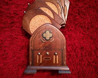 Vintage wood Cork Bell under glasses