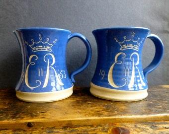 Pair of Stoneware Studio Pottery ER II 1953 Coronation Mugs
