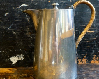 Silver Plated Small Coffee Pot with Rattan Handle TL&SS 3545 C.1950s