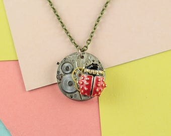 Ladybird jewellery / ladybird necklace / steampunk jewellery / cute necklace / watch movement / one off jewellery