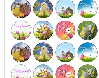 24 Precut 40mm Circle Happy Easter Bunnies and Chicks Animals Edible Wafer Paper Cake Cupcake Toppers