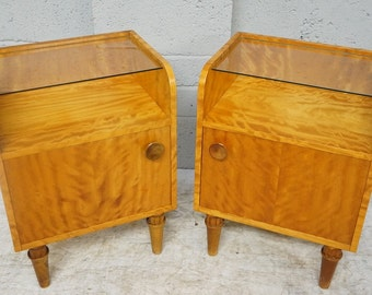 Vintage Pair of Satin Birch Bedside Cabinets