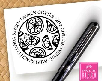 Citrus Twist Pre Inked Round Stamp - Lemon Lime Orange Pattern - Personalized Return Address Stamper - Black Self Inking Custom Stamp