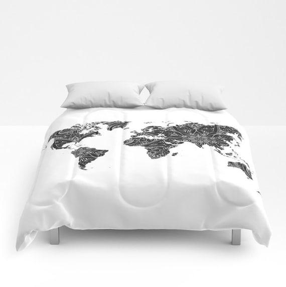 Black Grey World Map Boho Comforter Mandala Pattern Home