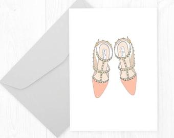 Printable Fashion Shoes Card - Fashion Shoes - Flat Shoes Birthday Card - Birthday Greeting Card - Fashion Card - Style Card - Shoe Card