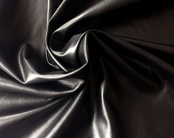 Black Stretch Faux Leather | Black Stretch Fake Leather by the Yard