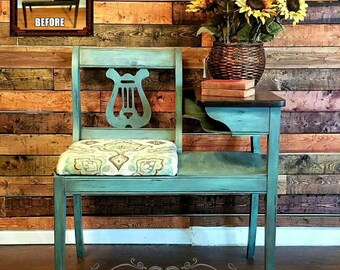 Vintage Gossip Bench / Telephone Bench - Chalk Painted and Distressed