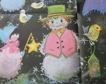 Vintage Snowman Christmas Gift Wrap, Gordon Fraser Made in England, Retro Mod Wrapping Paper