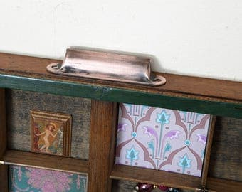 Lovely Printers Tray Artwork Brass Corner Clips & Vintage Type Prints and Jewellery