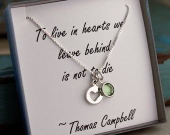 Remembrance Necklace / Memorial Necklace / Sympathy Jewelry / Loss of Mother - Father (Sterling Silver)