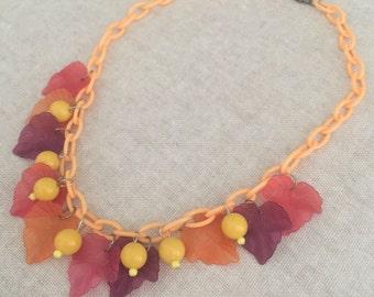SALE!! Take a Leaf Lucite necklace Autumn tones 50s 40s Mid Century