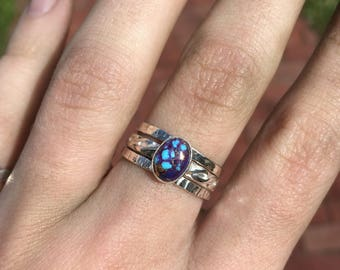 Mohave Purple Turquoise Triple Stack Ring Sterling Silver