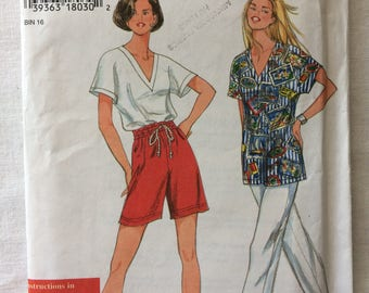 Vintage 1996 UNCUT Simplicity 9564 New Misses Size Extra Small, Small, Medium, Large, and Extra Large Pants or Shorts and Top Pattern