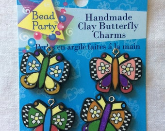 New Set of 4 Handmade Clay Butterfly Charms by Bead Party