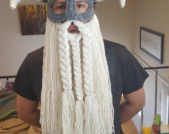 Crochet pattern for viking hat helmet with beard
