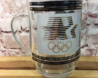 Vintage 1984 Los Angeles LA Olympic Games & U.S. Treasury's Olympic Commemorative Coins Glass Mug Cup 20oz