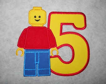 Made to order ~ Block Man (You Choose a number) iron on or sew on applique patch