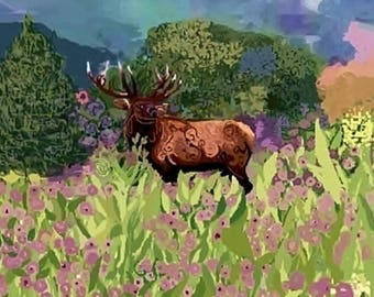 """Limited Edition Print of Watercolor, """"An Elk in the Moment"""", Art Collectibles, Paintings, Watercolors, Art, Wildlife Paintings, Conservation"""