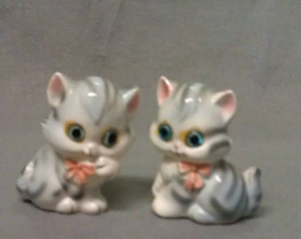Blue Grey with White Cats with Pink Ears and Nose and Blue Eyes Salt and Pepper Shaker Set