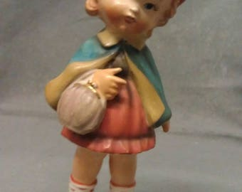 Ucagco Ceramics Japan Girl with Bag very Colorful Girl Figurine