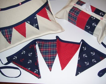 NAUTICAL BUNTING SET - nautical buntings - nautical decor - bunting pillow covers - nautical tissue covers - nautical baby room