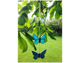 Stained Glass Blue Butterfly  Suncatcher Decoration, Glass Butterflies