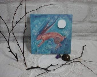 hare greeting card~hare card~pagan greeting card~moon gazing hare card~hare art~moon hare~moon hare card,pagan gift,nature card,hare,art