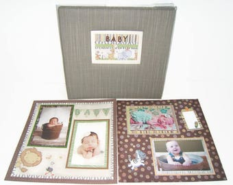 Baby Safari Scrapbook Album - Safari Baby Shower Gift - Baby Boy Scrapbook - Baby Girl Scrapbook Album - Premade Baby Scrapbook Album