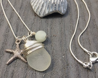 Sea Glass Necklace with Amazonite and Starfish, Sea Glass Jewellery, Sea Glass Pendant, Pendants, Sea Glass Jewelry, beach necklace