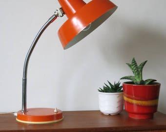 Vintage Retro Orange Modernist 20th Century Desk Lamp