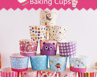 50X Baking Cups,Cupcake Liners,Cake Cups Candy Cups Paper Dessert Cups Rainbow Party,Birthday Favor DIY Toppers,Wedding Favor