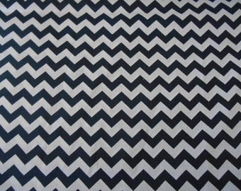 Navy blue 1/2 inch chevron cotton fabric by the yard