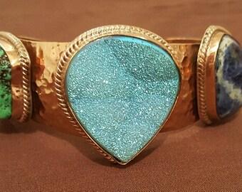 Gemstone Copper Bracelet/Blue Pyrite/Green Turquoise/ Hammered Copper Bracelet/ Cowgirl Bracelet