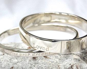 Engraved silver bangle size: L