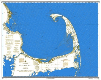 0422-Cape Cod Bay 1968 Blue+White-Nautical Chart by NOAA