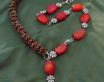 Handmade red coral stone beaded necklace