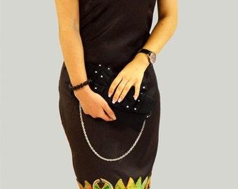 beautiful dress evening satin in African fabric