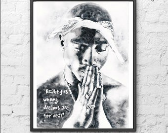 Tupac painting, 2pac original art, Tupac art, 2pac watercolor, Tupac prayer, gift for him.