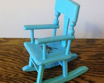 Vintage Doll Chair, Hand-Crafted, Hand Painted, Wooden Rocker, Turquoise Blue Doll Rocker with Bird Motif