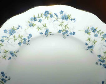Mid-century (c.1950s) Queen Anne Sonata salad | dessert plate. Bluebells, greenery, gold, scalloped edge. Made in England.