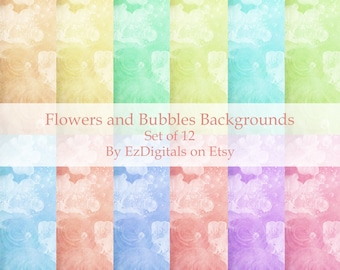 Digital backgrounds, flowers, bubbles, pastel, arts and crafts paper, digital download, scrapbooking paper,
