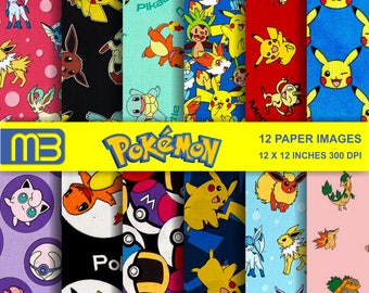 Pokemon backgrounds digital paper pack - printable papers - Instant download - 12x12 inches papers - for home printing - DIY