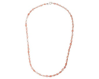 14K Gold & Pink Coral Bead Necklace