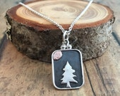 Pine Tree Necklace, Hand Cut Pine Tree and Sun/Moon Sterling silver and Copper Tree Necklace