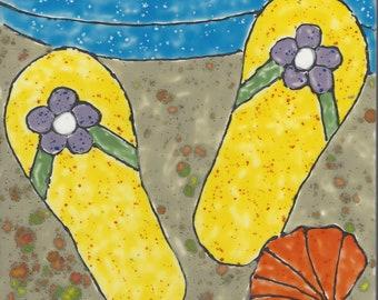 Flip Flops #003 Hand Painted Kiln Fired Decorative Ceramic Wall Art Tile 6 x 6