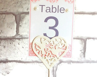 Pink lace effect printed wedding table numbers, table number printed, card table numbers, wedding stationary, wedding accessories